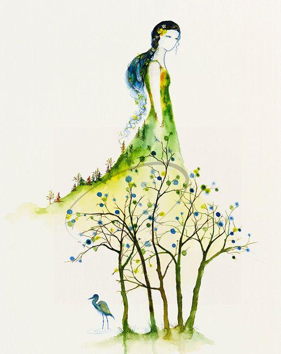 Serenity - Fine Art Print watercolor painting wedding bride woman spirit heron spring tree blossoms colorful dress artist Oladesign 8x10