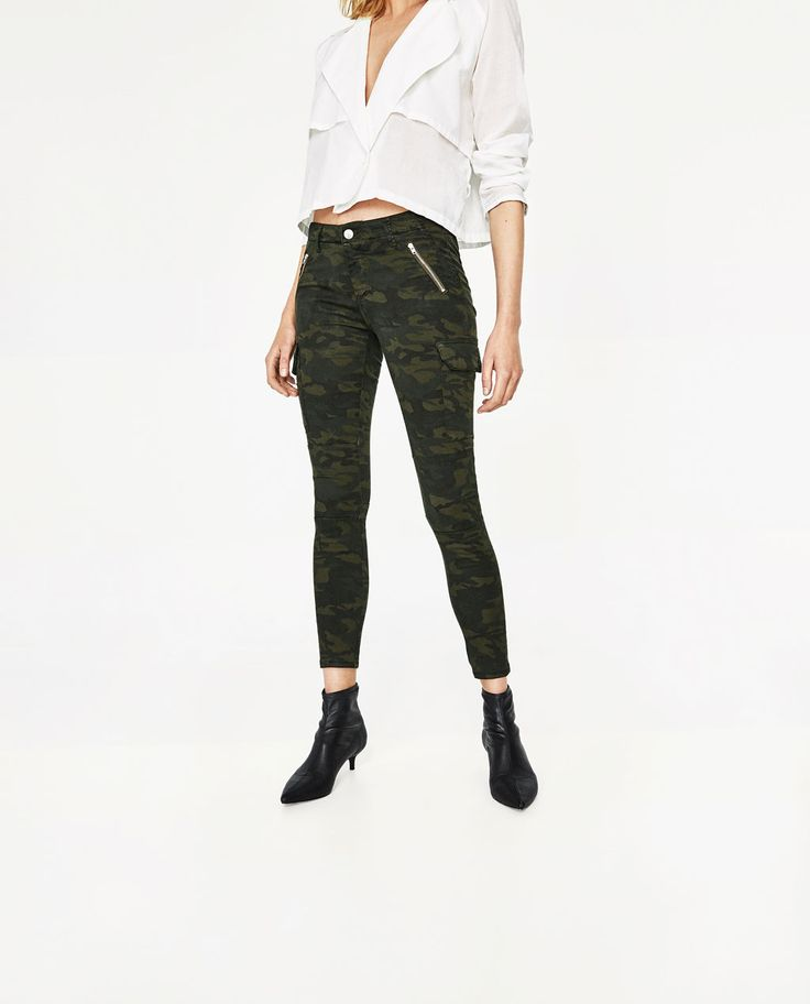 CAMOUFLAGE CARGO TROUSERS-Skinny-TROUSERS-WOMAN | ZARA United States