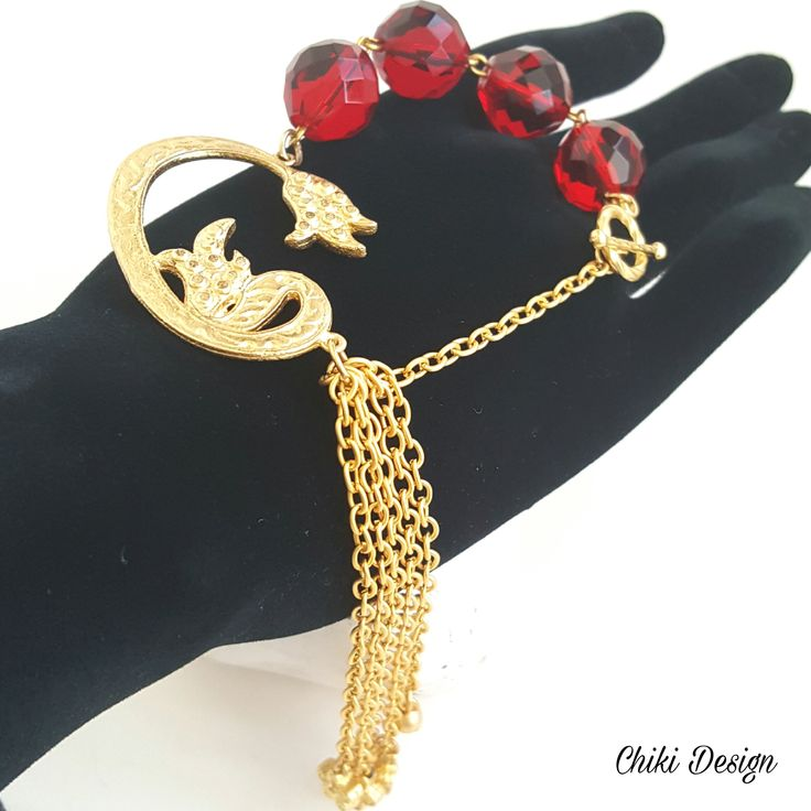 Unique hand made creation bracelet is made from red chrystal beads and gold plating ottoman Filigree. - Chiki Custom made unique jewelry
