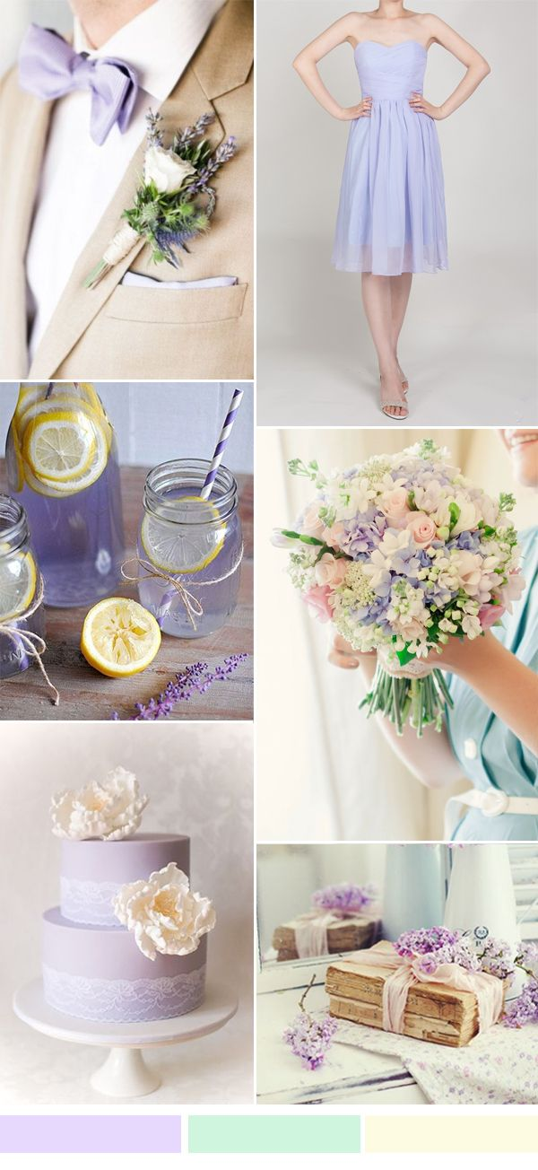 lilac watercolor wedding ideas and short lilac bridesmaid dress for spring summer weddings 2016