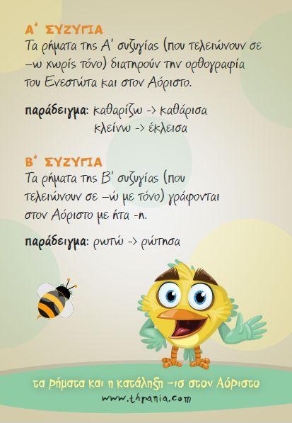 Γλώσσα - Ορθογραφία: ''Τα ρήματα και η κατάληξη -ισ στον Αόριστο''