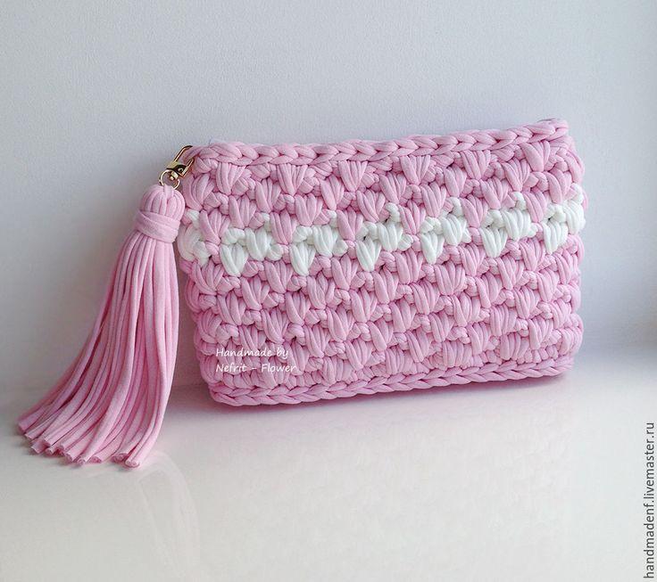 """Купить Вязаный клатч """"Розовая Зефирка"""" - бледно-розовый, однотонный, розовый, розовый кварц"""