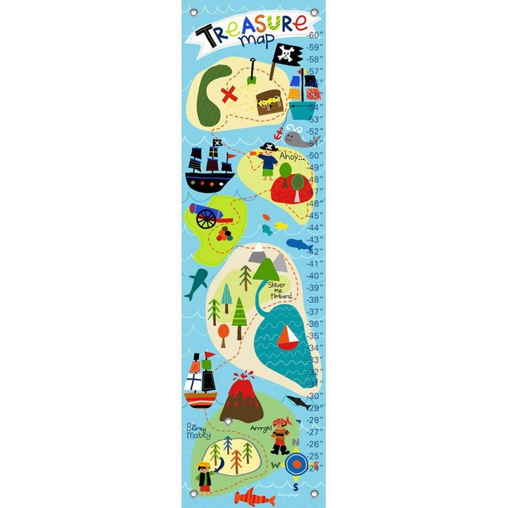 Oopsy Daisy Pirate's Treasure Map Canvas Growth Charts, Blue
