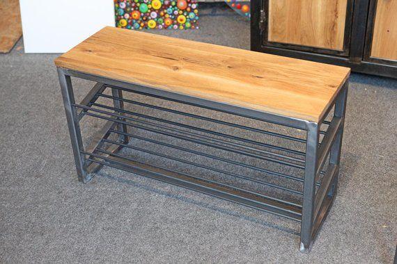 Schuhbank Schuhregal Schuhschrank Sitzbank Industriedesign Stahl Eiche Car Furniture Decor Furniture