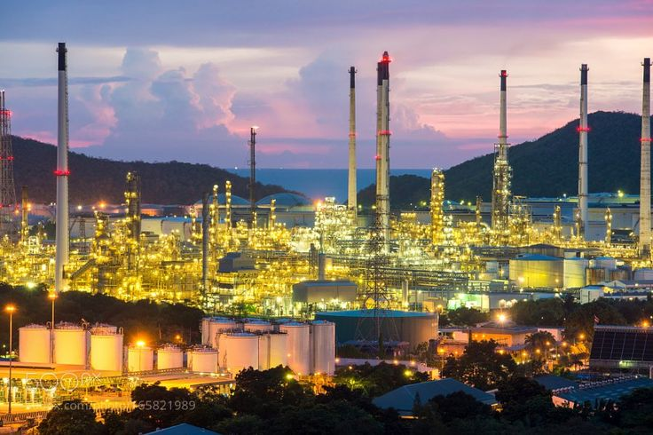 Oil refinery factory at night.