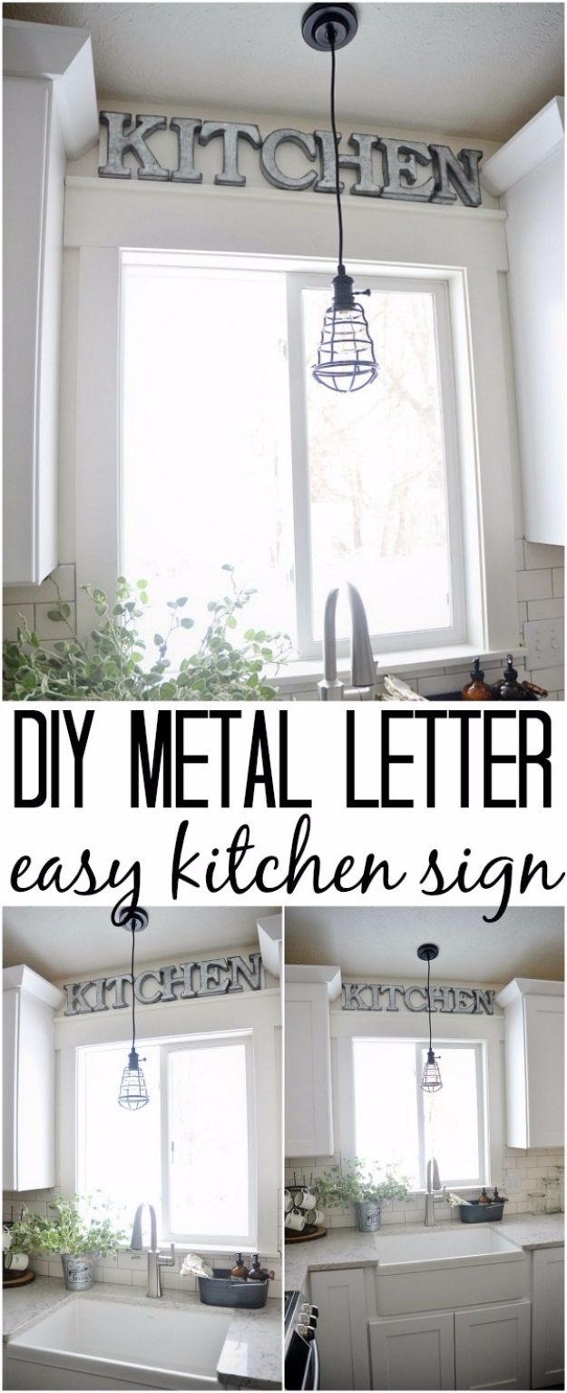 DIY Wall Letters and Initals Wall Art - DIY Metal Letter Industrial Kitchen Sign - Cool Architectural Letter Projects for Living Room Decor, Bedroom Ideas. Girl or Boy Nursery. Paint, Glitter, String Art, Easy Cardboard and Rustic Wooden Ideas http://diyprojectsforteens.com/diy-projects-with-letters-wall