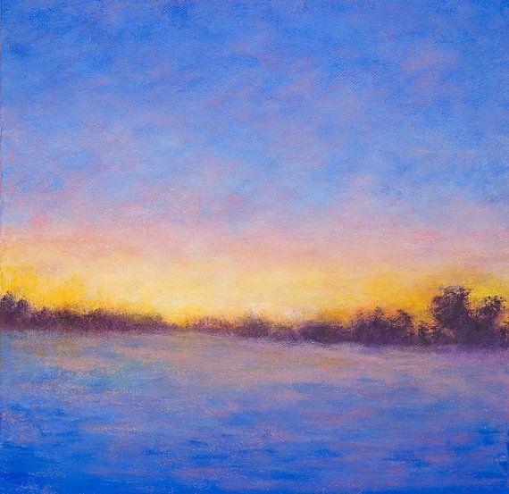 Colorful Sunset Landscape Painting Endings Blue Purple