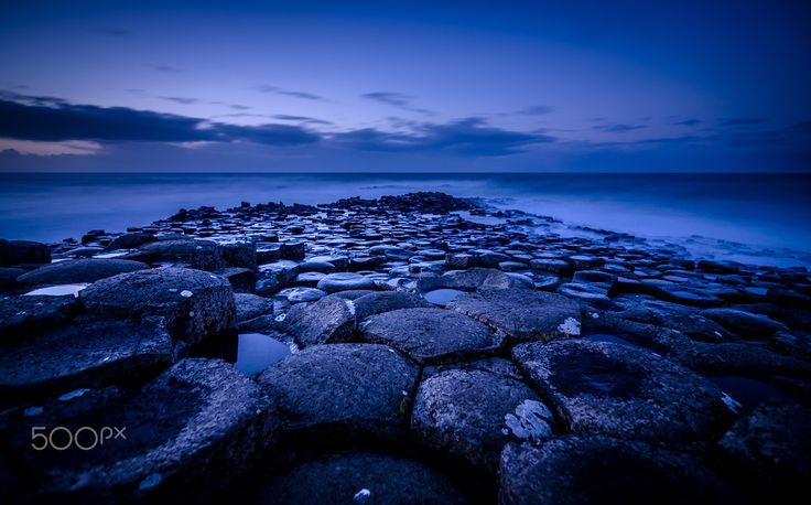 """Giants Causeway - Giants Causeway in County Antrim, Northern Ireland. Volcanic activity has created this wonderful place containing 40,000 interlocking basalt columns. Took this during the blue hour watching the huge waves crashing against the columns.  Please visit my <a href=""""https://www.facebook.com/kathrynconwayphotography"""">Facebook Page</a>, <a href=""""https://instagram.com/conwaykathryn/"""">Instagram</a>"""