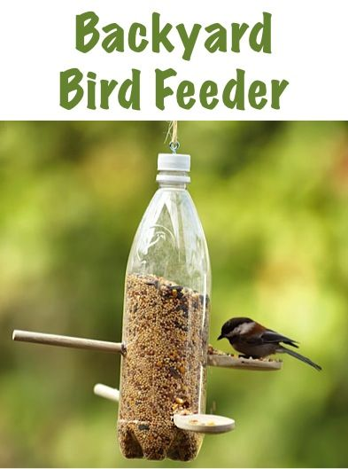 DIY Backyard Bird Feeder with a soda bottle and wooden spoons ~ Recycle soda bottles and great craft project for kids