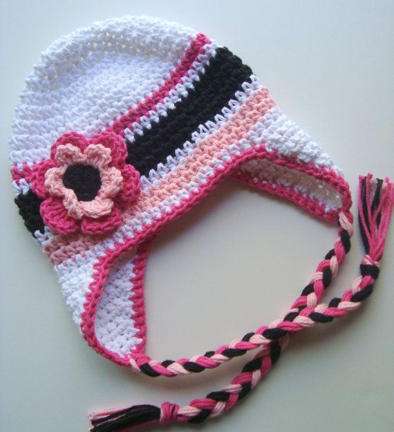 Girls Cotton Crochet Ear flap Beanie Hat with ♥ by Karenisa on Etsy, $30.00