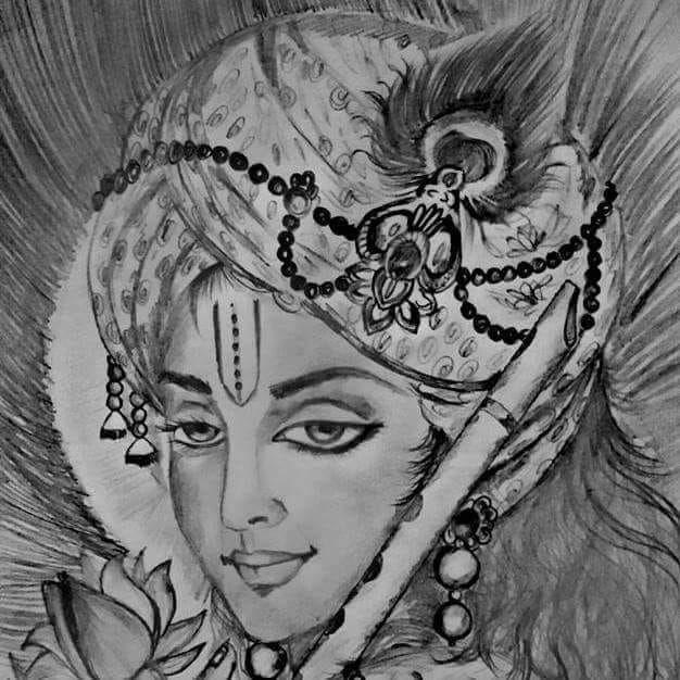 Krishna Pencil Sketch Krishna Drawing Pencil Sketch in ...