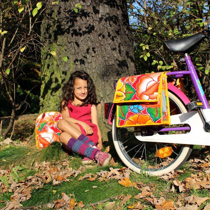 Fahrradtasche und Rucksack für Kinder, ein tolles Set und eine super Geschenkidee. Erhältlich bei Ikuri.