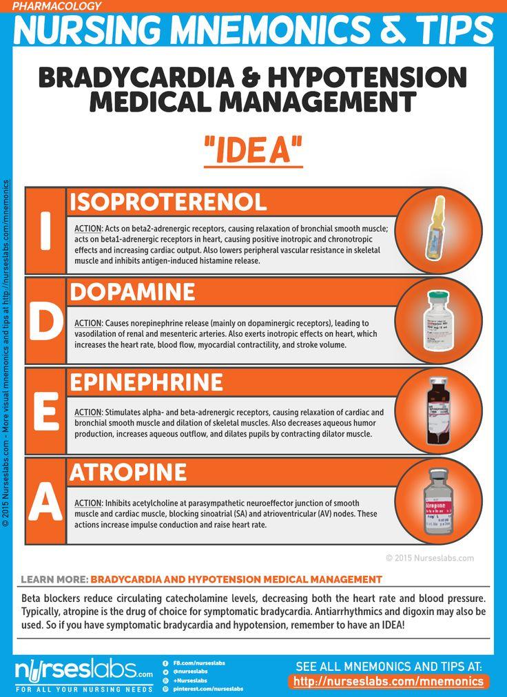 "Drugs for Bradycardia & Hypotension: ""IDEA"" Nursing Mnemonics and Tips: http://nurseslabs.com/pharmacology-nursing-mnemonics-tips/"