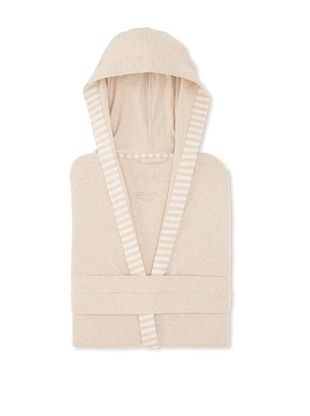 50% OFF Nine Space Striped Trim Jersey Knit Robe (Oatmeal)