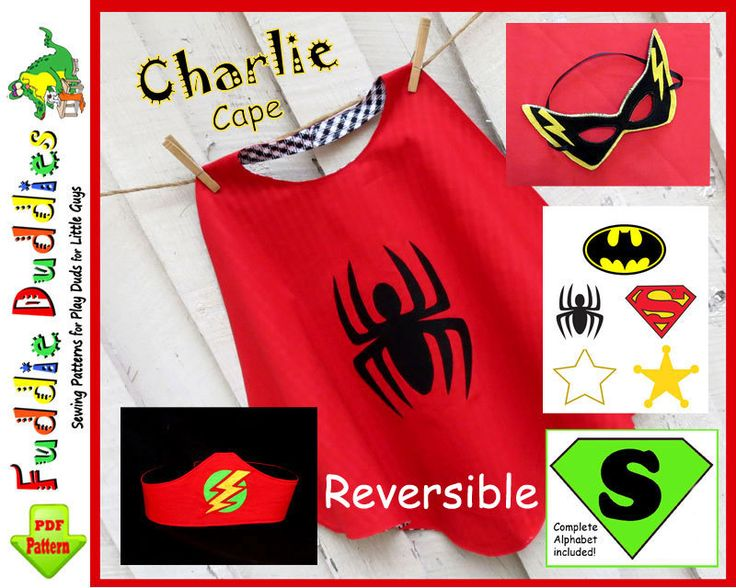 "Toddler's Superhero Cape Pattern ""Charlie"", Superhero Costume Pattern, Batman, Spiderman, INSTANT DOWNLOAD. Boy's Sewing Pattern. $4.00, via Etsy."