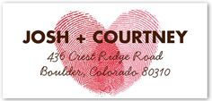 Found this cute idea while searching for address labels... fingerprints making a heart.   Address Labels & Personalized Return Address Labels   Shutterfly   Page 9  http://www.shutterfly.com/cards-stationery/address-labels