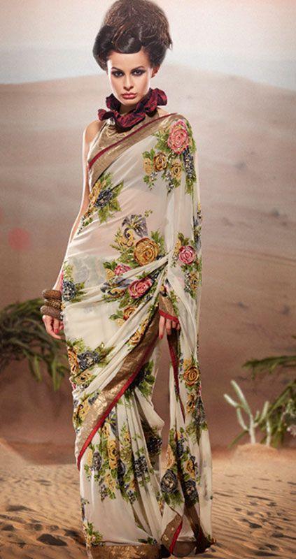 Designer Floral Georgette Saree