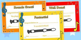Recorder Certificates - recorder, certificates, music, music award, recorder…