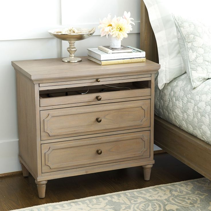 Isabella Large Nightstand with Charging Station Ballard design-like this idea!!