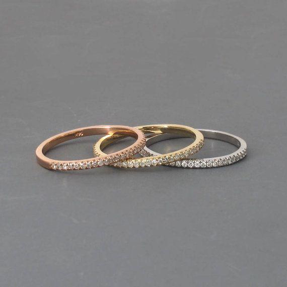 Ewigkeit Diamant-Ring 14k Weissgold eine halbe von PeachFactory