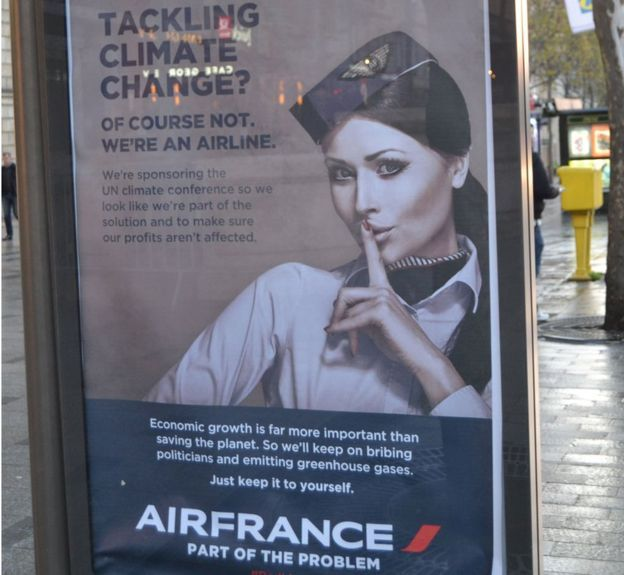 More than 600 artworks critiquing corporate sponsors of the UN summit on climate change.  A poster parodying Air France reads: