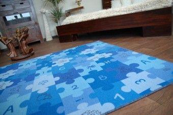 Dětský koberec Puzzle - modrý