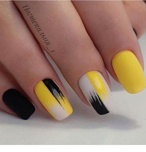 Nice yellow gel nails art