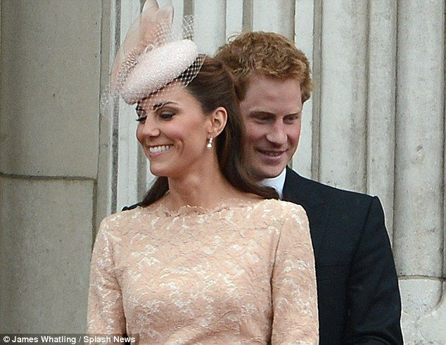 Royal jokers: Prince Harry and the Duchess of Cambridge share a close bond during a fly-past for 2012 Jubilee celebrations