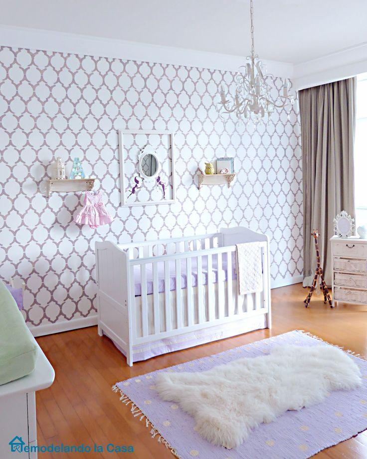 Stylish Baby Girl Nursery with Stenciled wall