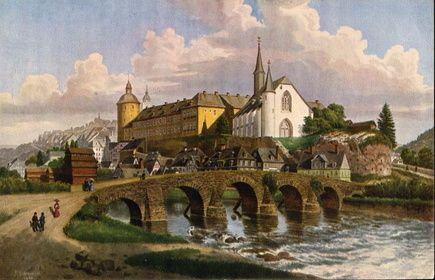 Siegen, Germany depicted as it appeared in 1850 (water colour painting)