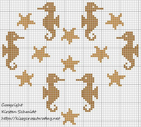Cross-stitch Seahorse Heart ... no color chart available, just use the pattern chart as your color guide.. or choose your own colors...       punto de cruz