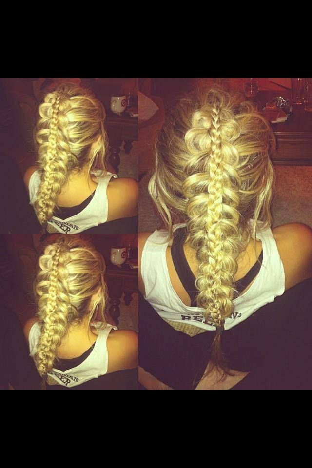 Such a creative style - we love this stacked braid by Chelsea Gibson! #hair #wedding #braid