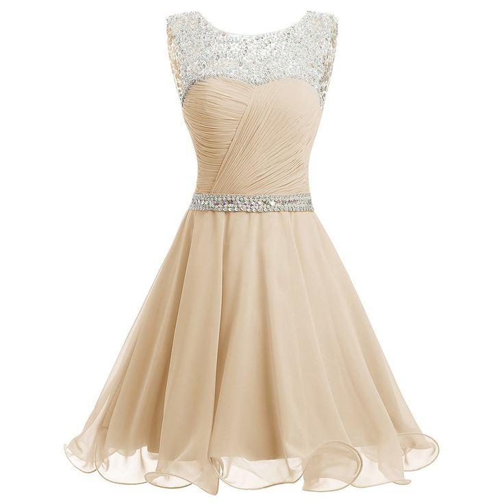 Bateau Neck Beaded Tulle Illusion Prom Dress, Sequined Belt Ivory Blue Short Prom Dress, Open Back Mini Chiffon Prom Dress, #020102720