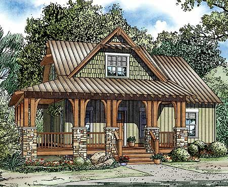 plan 60552nd rustic escape with porch options country house planssmall - Small Lake House Plans