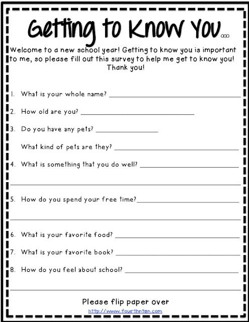First day of school idea? If in preschool or kindergarten maybe get parents to fill one out about their kids