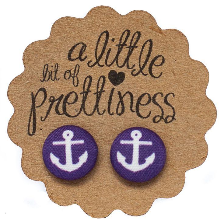 Anchor Purple Fabric Button Earrings $8.00 from alittlebitofprettiness.com.au