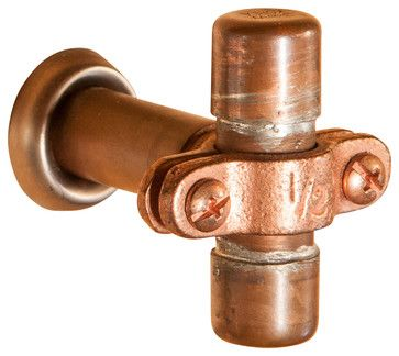 Small Industrial Copper Cabinet Handle - industrial - Cabinet And Drawer Knobs - Nine & Twenty
