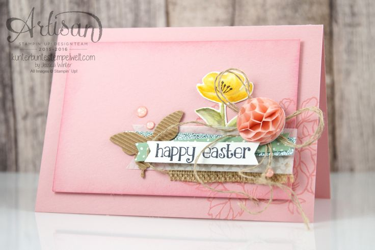 Stampin Up!  - Artisan Blog Hop - birthday flowers - So sweet - Easter Cards - mixing pins - honeycomb - 2