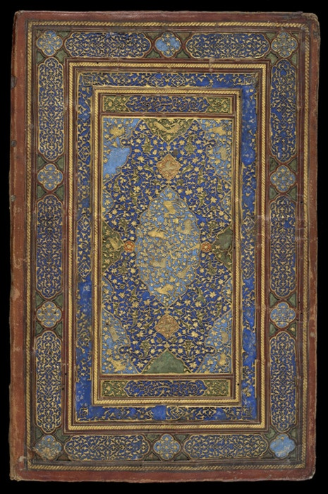 Inside of a book cover, made in Iran in the early 16th century.