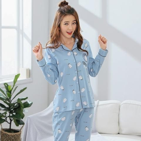 14e0824c65 Pijama Promotion Pijamas New 2018 Women Pajama Sets 100% Cotton Sleepwear  Long Sleeve Cute Cat Lounge Set Leisure Homewear