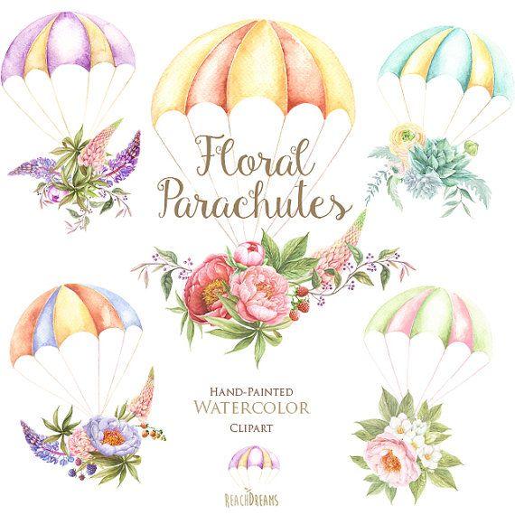 Acuarela de paracaídas con Ramos florales de la por ReachDreams