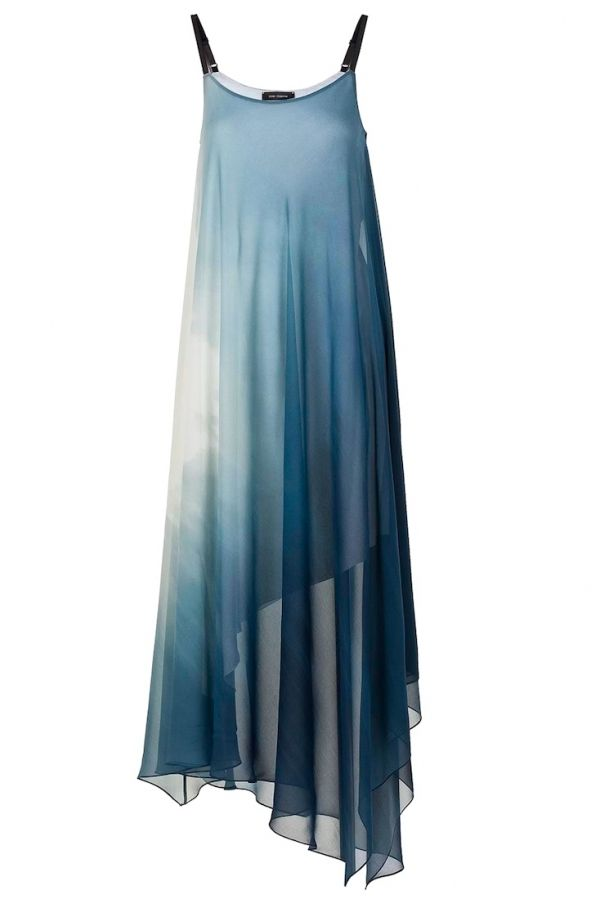 LIZOUM Asymetric dress in blue is so ethereal