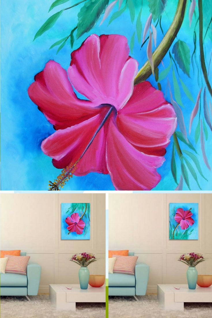 """Hibiscus. Original Oil Painting on Canvas. Wall Art. Wall Decor. Canvas Painting. Wall Decoration. Modern Art. Gift for Her. Contemporary Art. Large Painting. 16"""" x 20"""". 40 x 50 cm. 2016 Unframed. AVAILABLE FOR IMMEDIATE PURCHASE.   This gorgeous piece could be hung vertically, horizontally, or upside down. The signature is on the back. Display it in your own house or office to brighten up any room. It will make a great gift, too."""