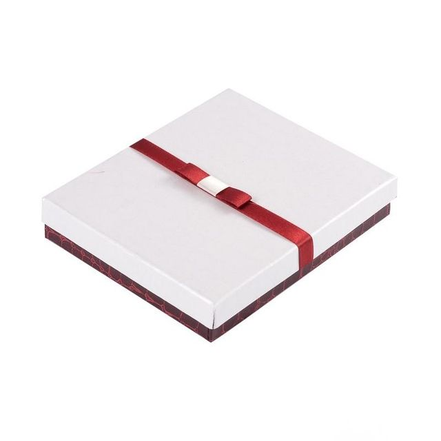 20 unids/lote 16x13x3 cm Cuboid Cajas Set Joyería Cajas de Regalo de Cartón con Esponja y La Cinta Blanca