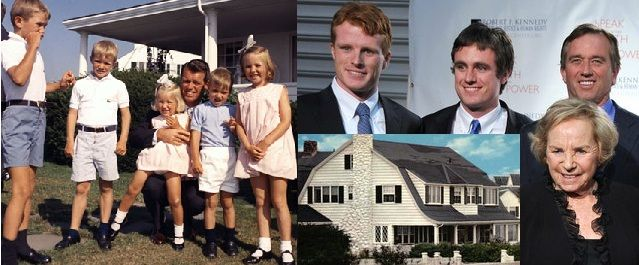 The Robert Kennedy House, the Senator with several of his children. His widow Ethel, seen here with her son Joe's twin sons Joe and Matt, and her son Bobby, who has a nearby property.