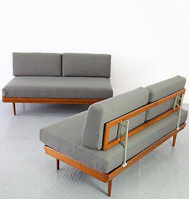 mid century modern daybed knoll antimott 50s danish teak. Black Bedroom Furniture Sets. Home Design Ideas