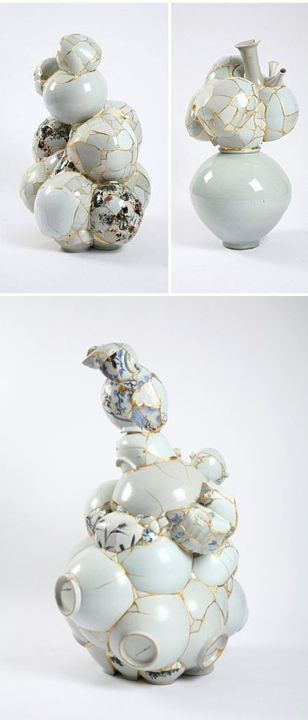"Yee Sookyung ""Translated Vase"" series (broken ceramics and gold leaf!)"