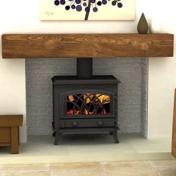 Multi fuel wood burning stove. The focal point is the stove and the wood beam mantel. I'd use off-white smooth yet rustic tiles for the hearth again in off-white...