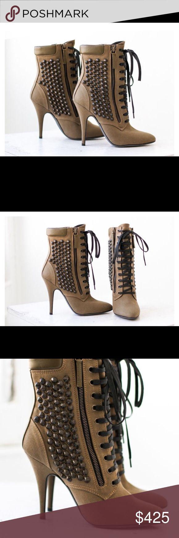 Giuseppe Zanotti x Balmain Boots Giuseppe Zanotti x Balmain Boots| Who remembers this amazing collab? When Giuseppe Zanotti and Balmain brought this chic military green bootie to a life they knew exactly how they wanted women to feel. Just think you have one shoe wearing both of your favorite designers. | Condition: EXCELLENT| Sole Condition: Light scuffs at the bottom of the shoe | Heel Height: 4 1/2"