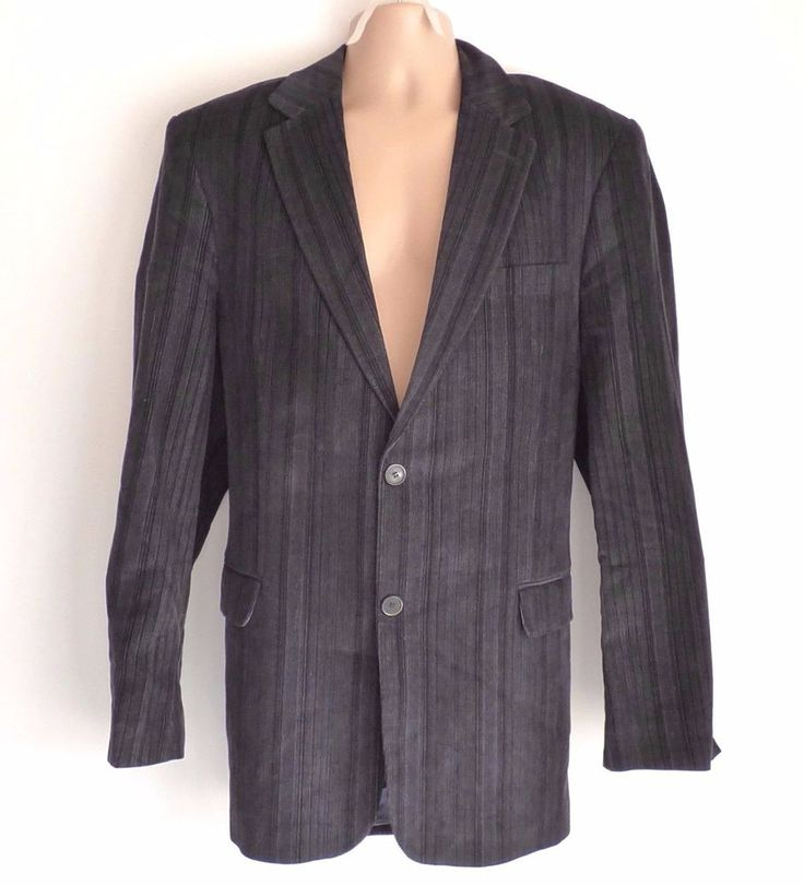 Vintage Black Needle Corduroy LINEA UNO Fitted Tailored Men's Blazer Size XL